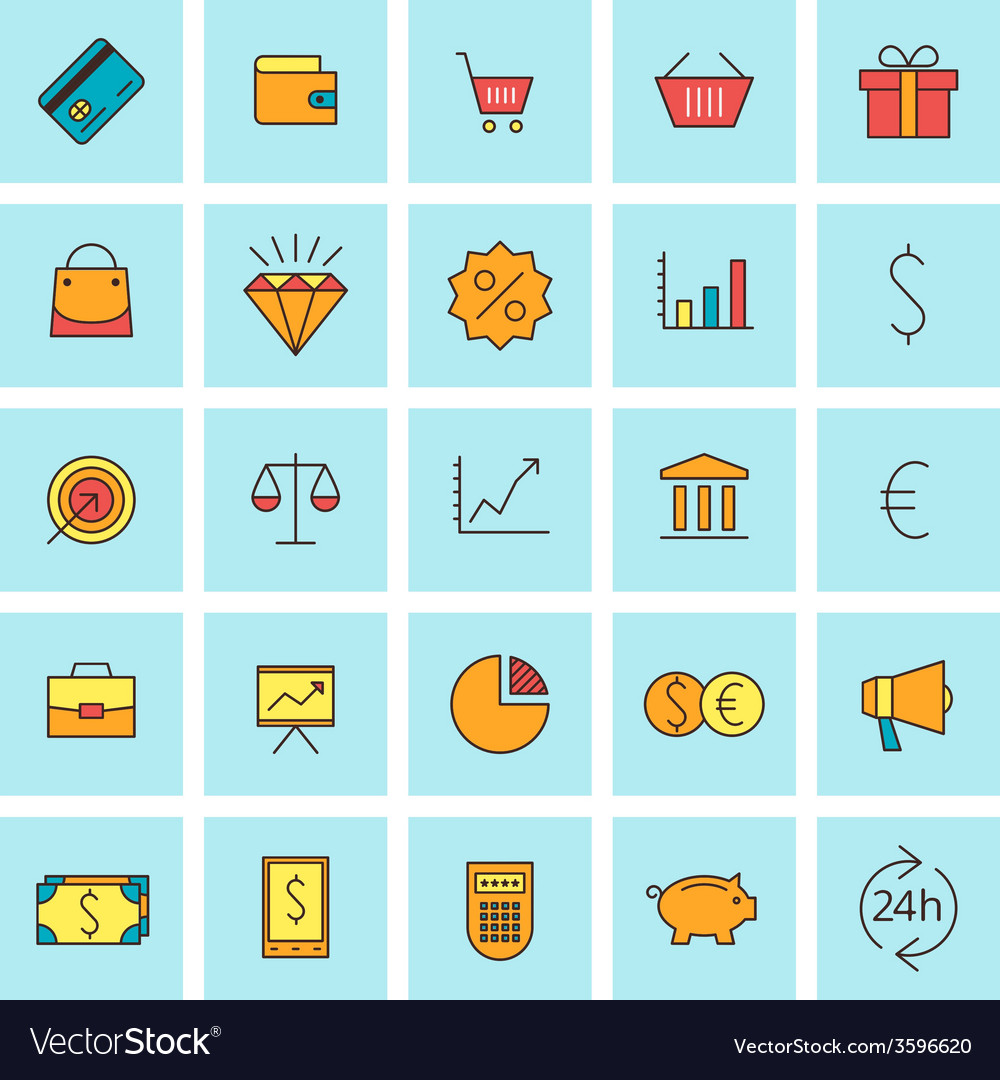 Business and finance icon set in flat design style vector | Price: 1 Credit (USD $1)
