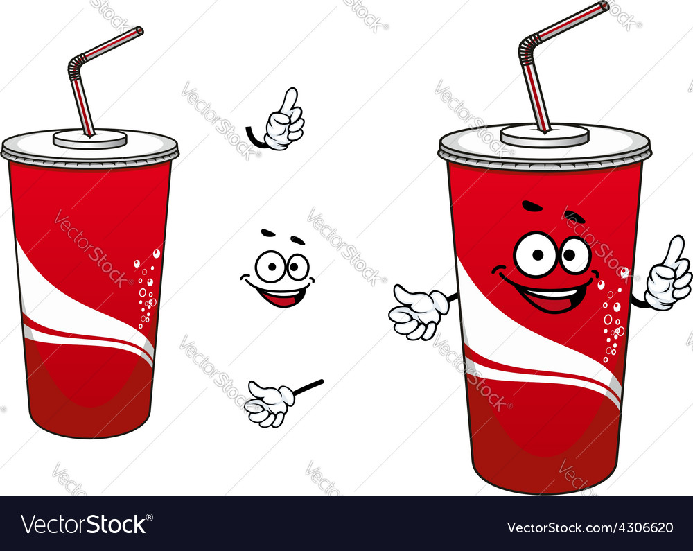 Cola or soda paper cup cartoon character vector | Price: 1 Credit (USD $1)