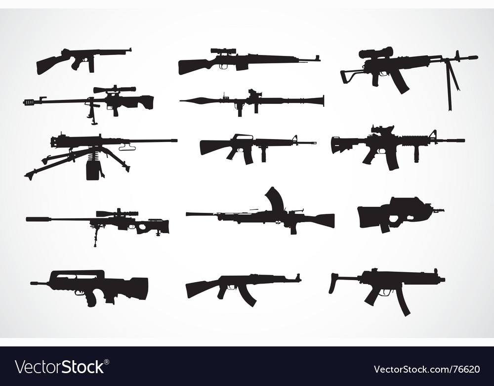 Firearm silhouettes vector | Price: 1 Credit (USD $1)