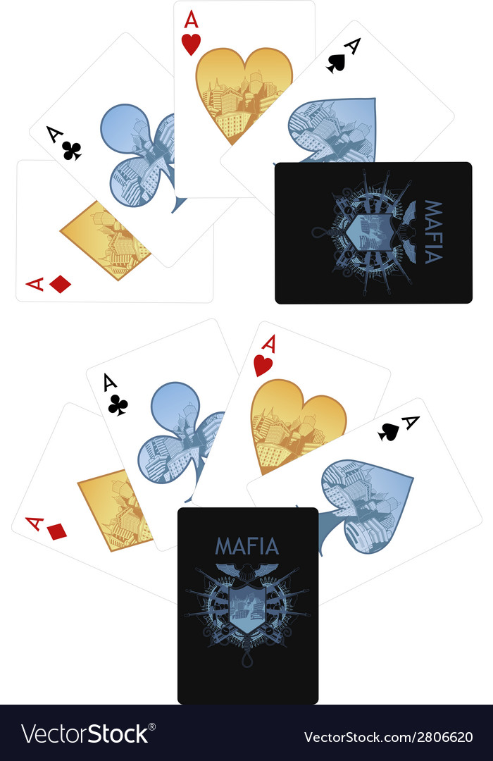 Four aces playing cards noir mafia set vector | Price: 1 Credit (USD $1)