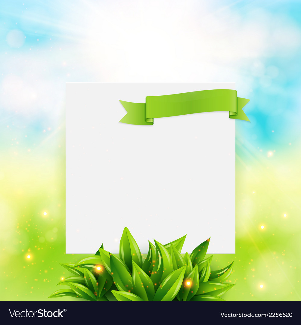 Paper note with ribbon and leaves on bright summer vector | Price: 1 Credit (USD $1)