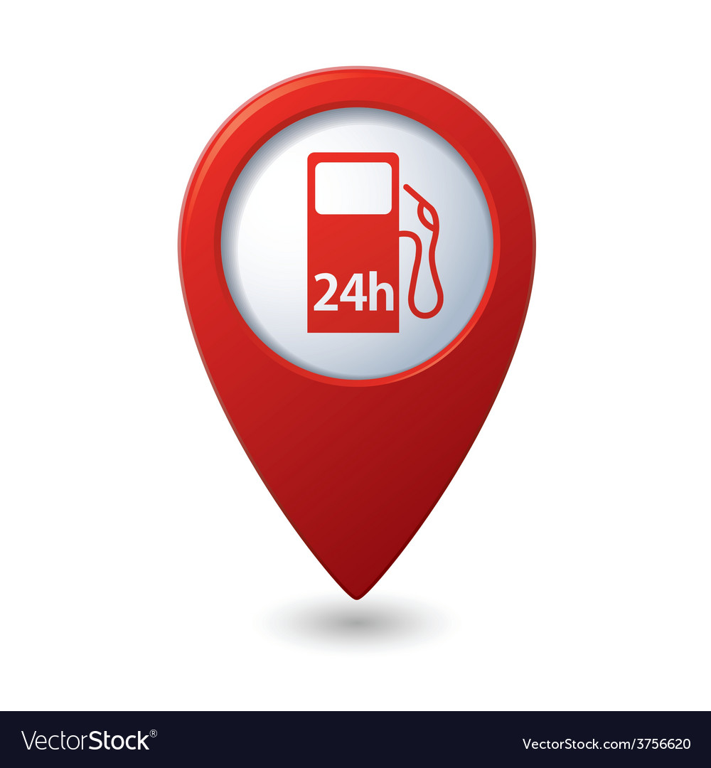 Petrol station 24h red pointer vector | Price: 1 Credit (USD $1)