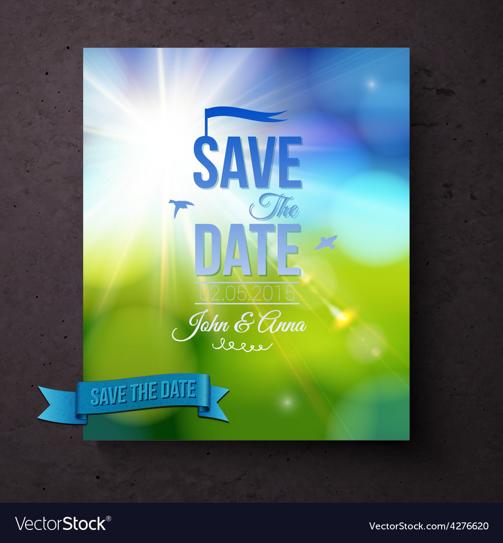 Save the date template for a spring wedding vector | Price: 1 Credit (USD $1)