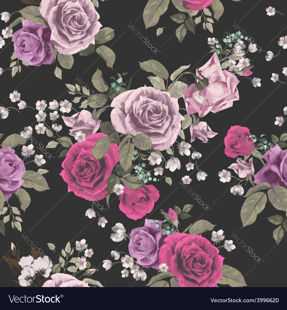 Seamless floral pattern with red and pink roses on vector | Price: 1 Credit (USD $1)