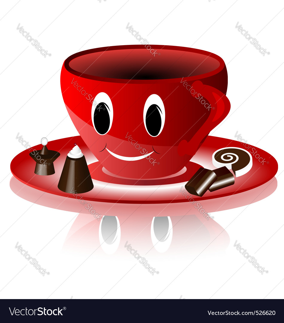 Smiling red cup vector | Price: 1 Credit (USD $1)