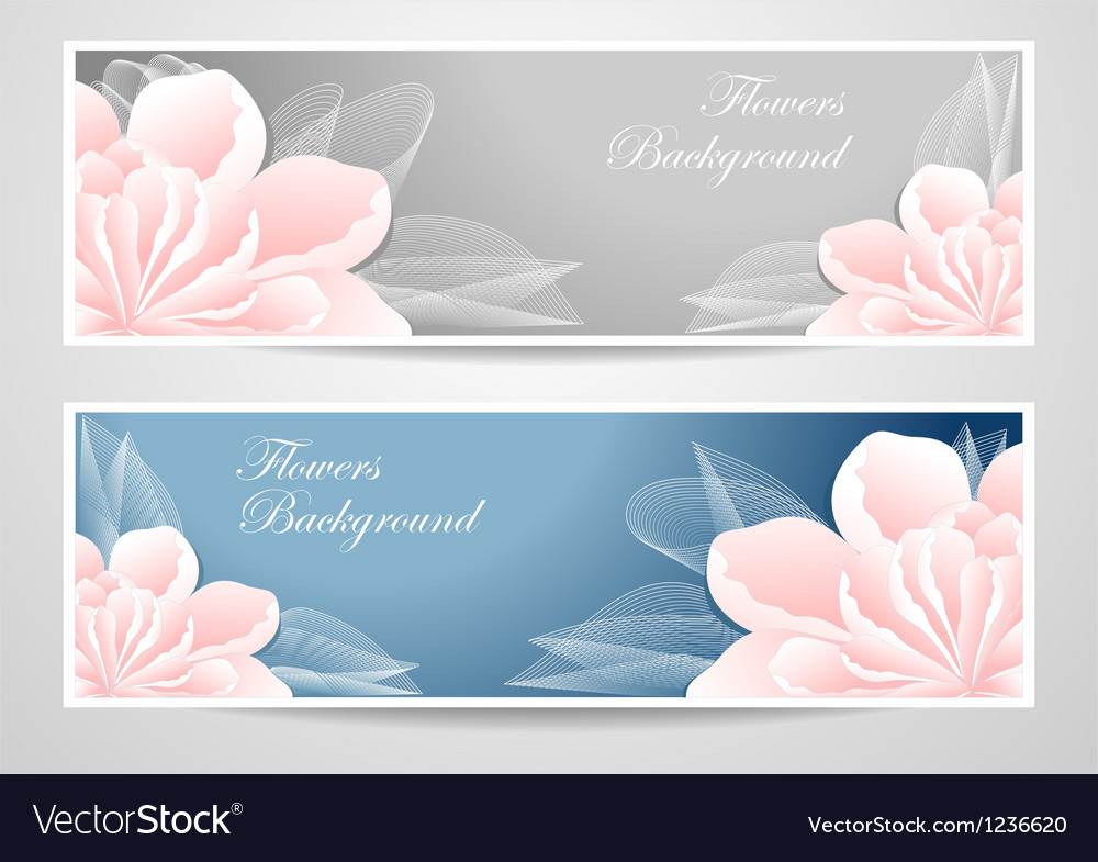 Two flowers banners on blue grey background vector | Price: 1 Credit (USD $1)