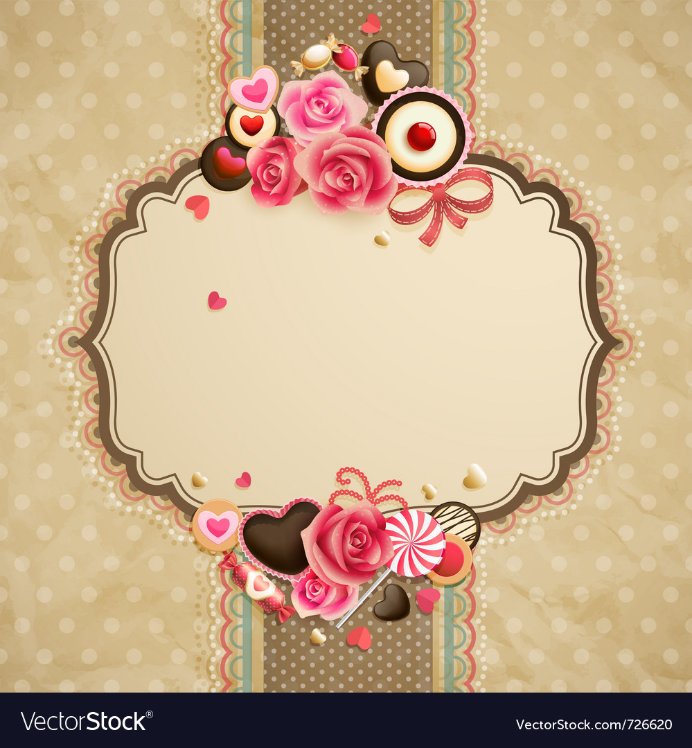 Valentines day vintage lace card vector | Price: 1 Credit (USD $1)