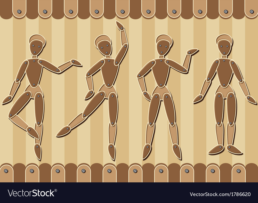 Wooden marionettes vector | Price: 1 Credit (USD $1)