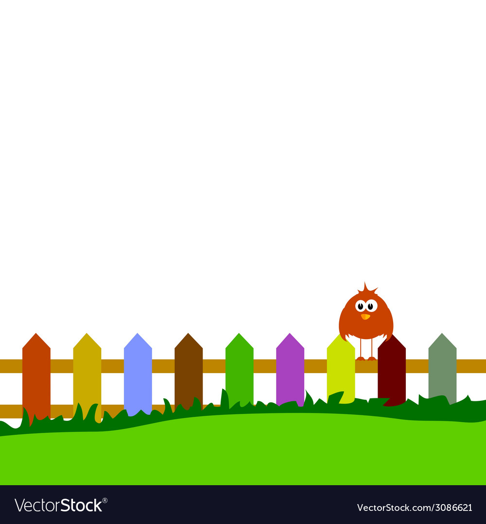 Bird on fence vector | Price: 1 Credit (USD $1)
