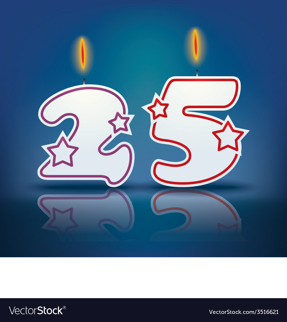Birthday candle number 25 vector | Price: 1 Credit (USD $1)