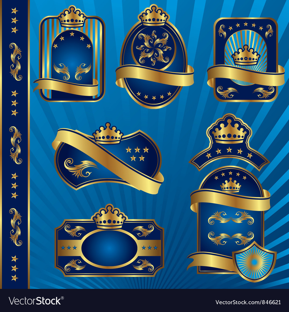 Blue royal labeles blanck vector | Price: 1 Credit (USD $1)