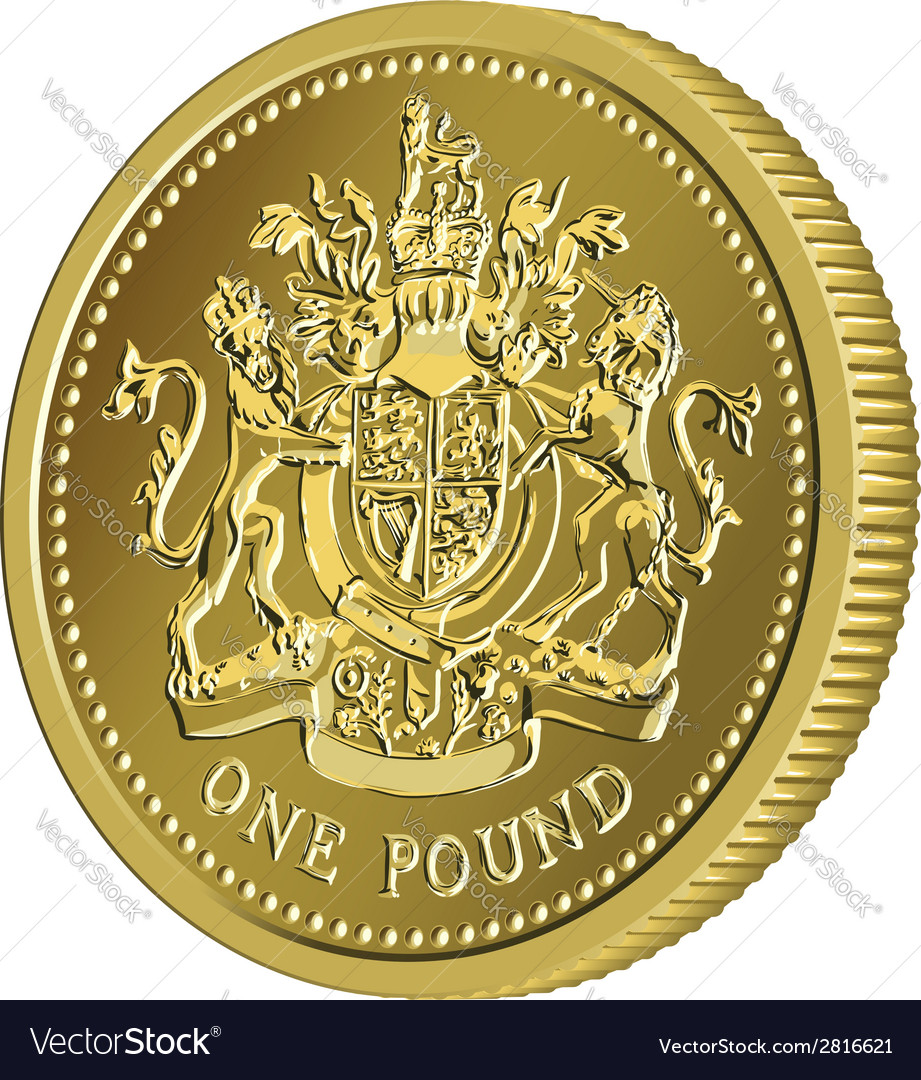 British money gold coin one pound vector | Price: 1 Credit (USD $1)