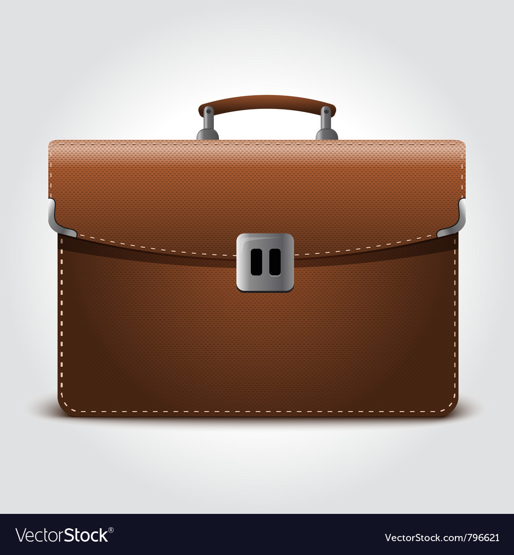 Business brown briefcase on blue vector