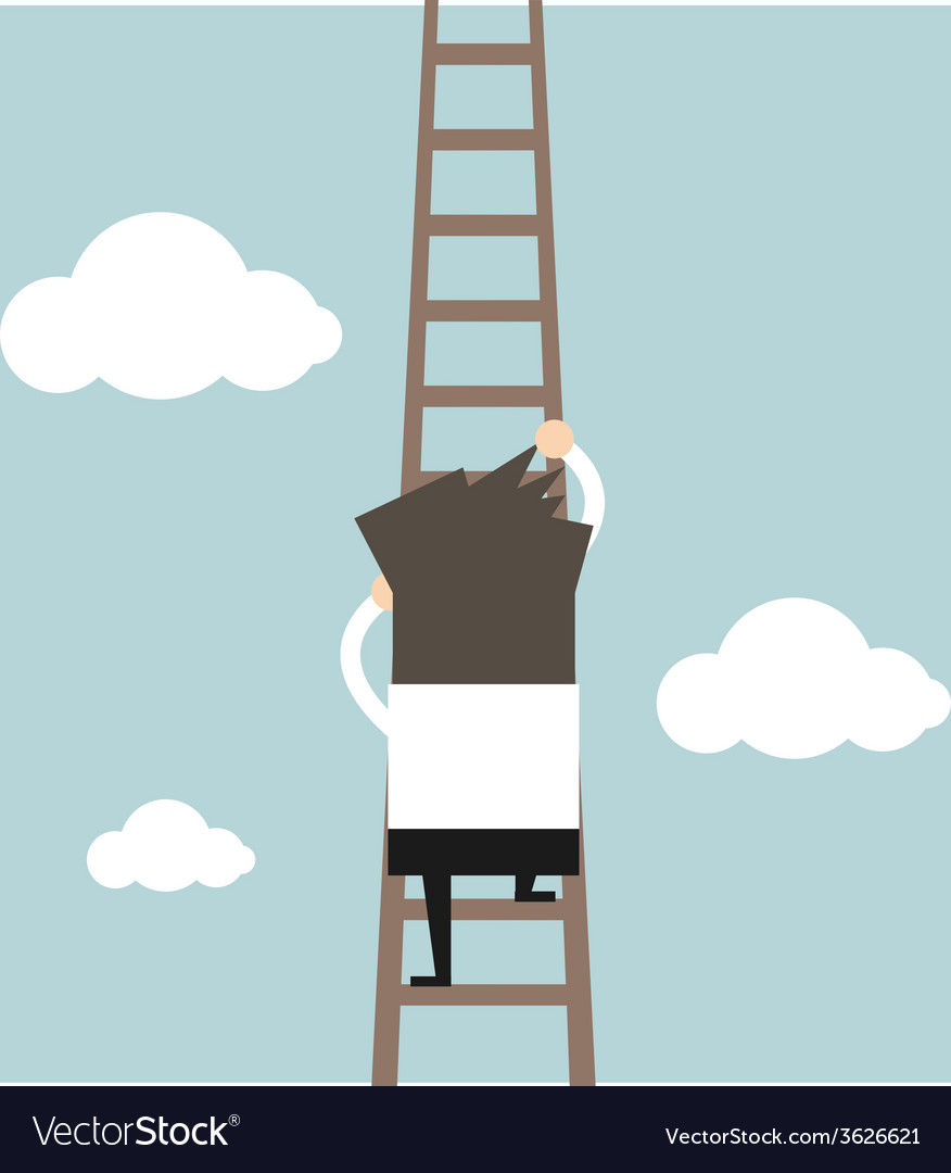 Businessman climbing the ladder vector | Price: 1 Credit (USD $1)
