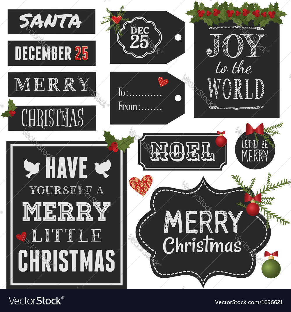 Chalkboard style christmas retro design elements vector | Price: 1 Credit (USD $1)
