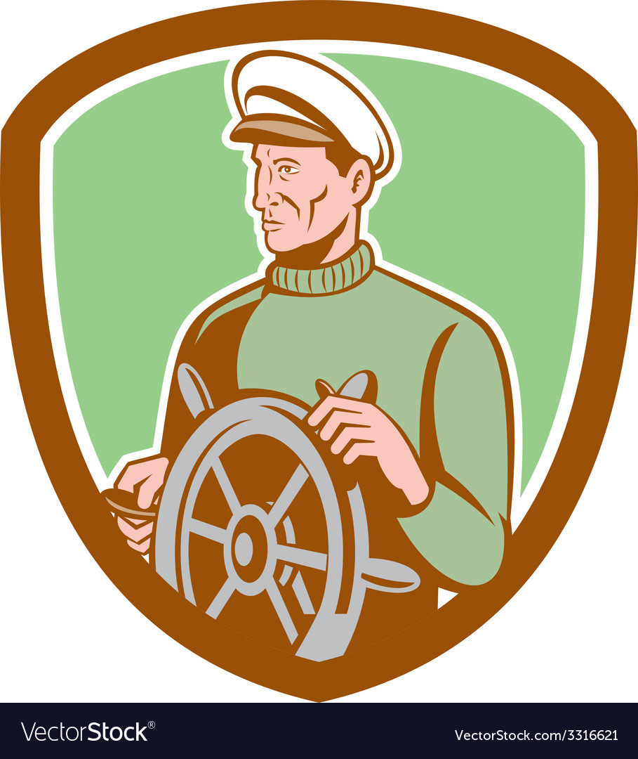 Fisherman sea captain wheel shield retro vector | Price: 1 Credit (USD $1)