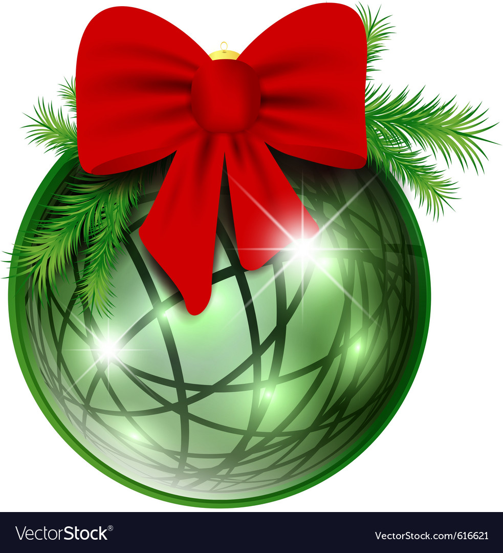New year ball with red bow vector | Price: 1 Credit (USD $1)