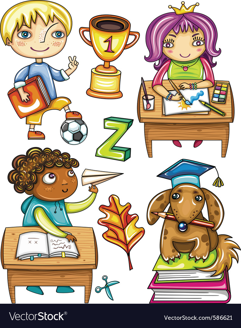 Schoolchildren set 1 vector | Price: 5 Credit (USD $5)