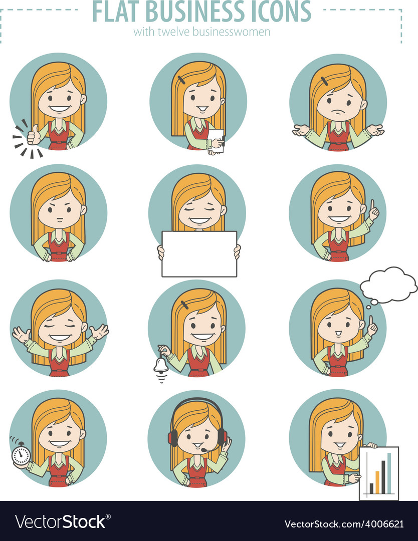 Set of flat business icons with businesswomen vector | Price: 1 Credit (USD $1)