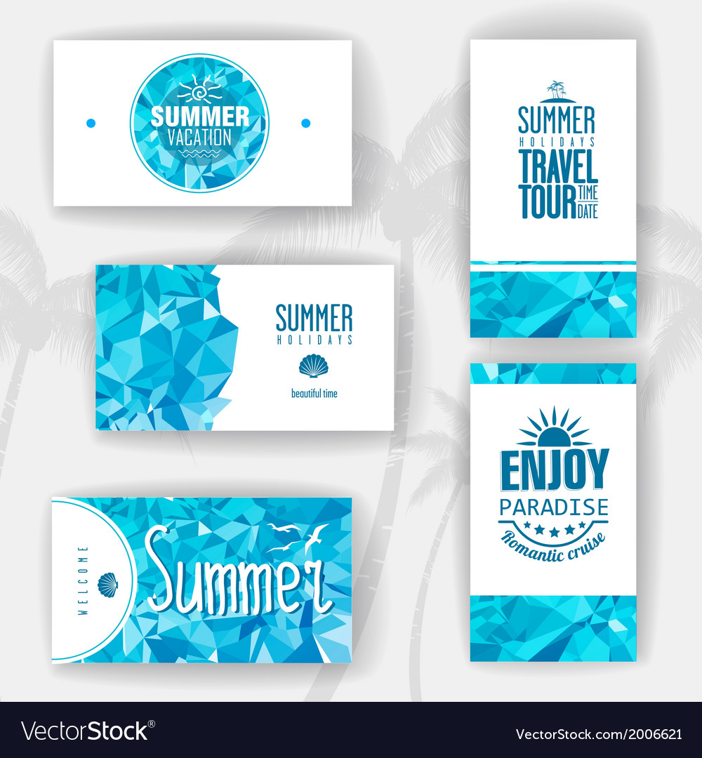 Set of geometric summer visiting card vector | Price: 1 Credit (USD $1)