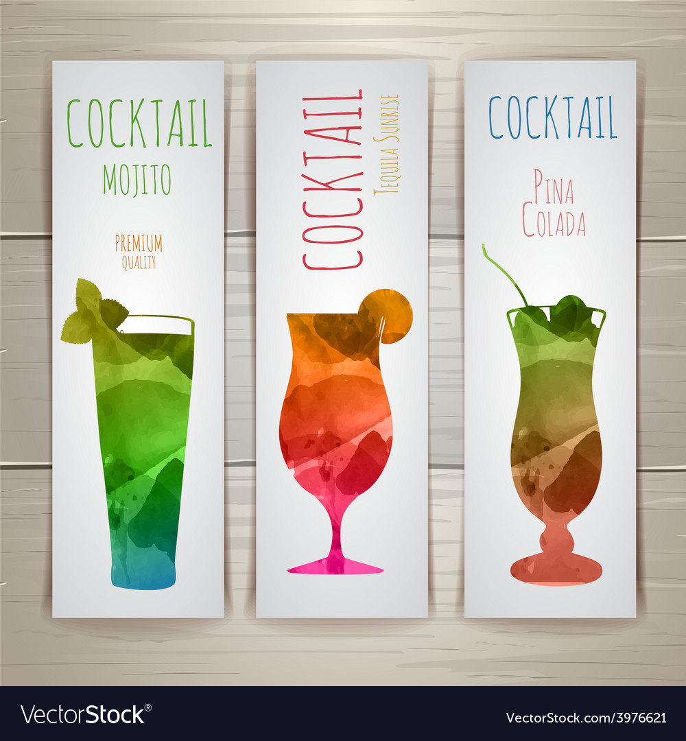 Set of watercolor cocktail banners vector | Price: 1 Credit (USD $1)