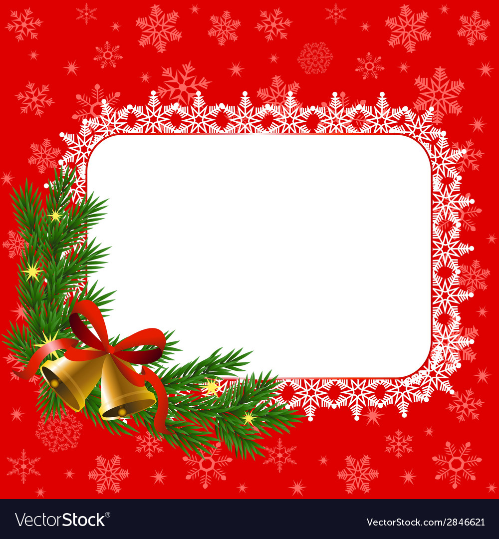 Snowflake frame and bells vector | Price: 1 Credit (USD $1)