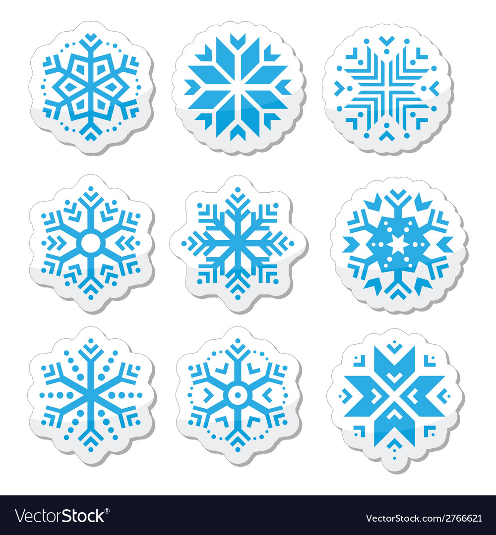 Snowflakes icon set on black and white background vector | Price: 1 Credit (USD $1)
