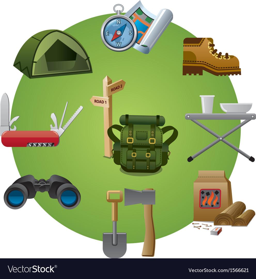 Tourism equipment icon vector | Price: 1 Credit (USD $1)