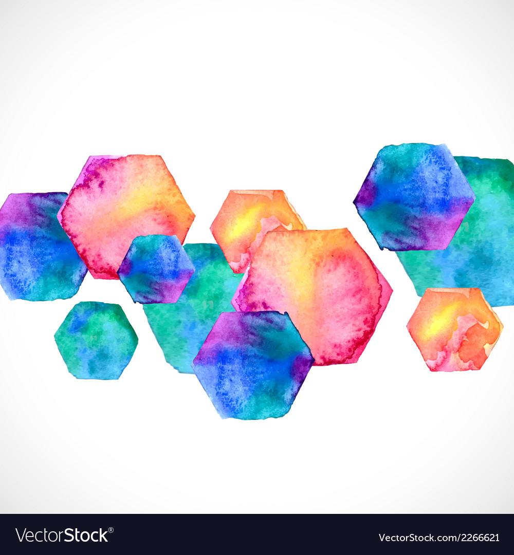 Watercolor bright hexagon over white vector | Price: 1 Credit (USD $1)