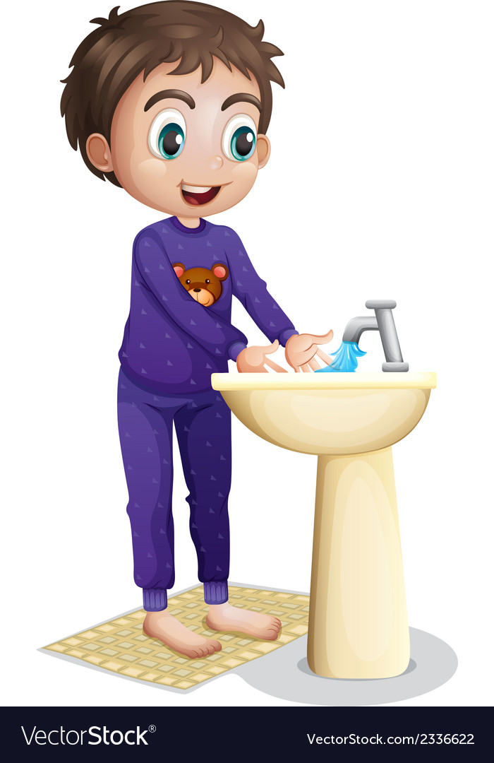 A boy washing his hands vector | Price: 1 Credit (USD $1)