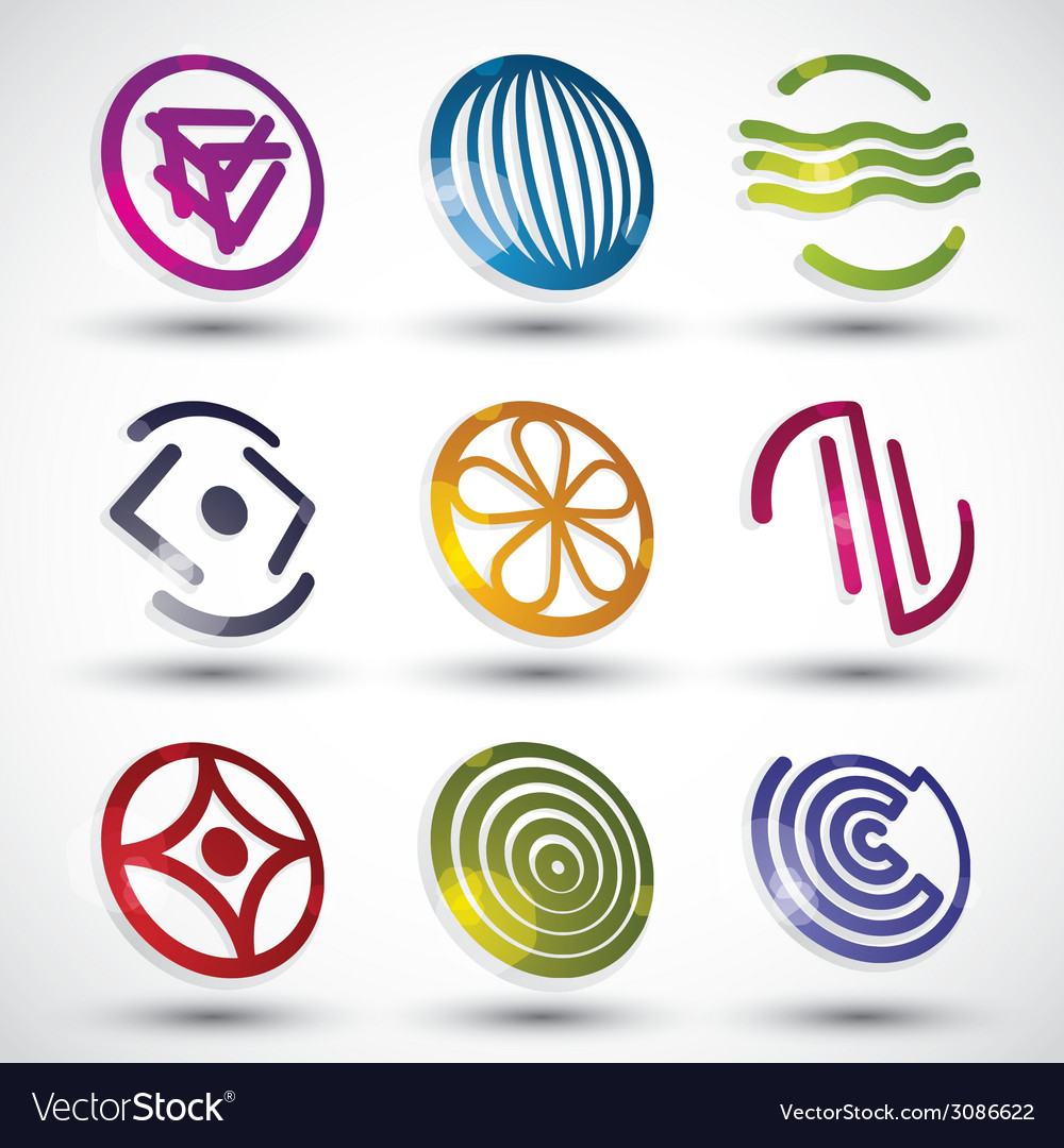 Abstract icons of different shapes set vector | Price: 1 Credit (USD $1)