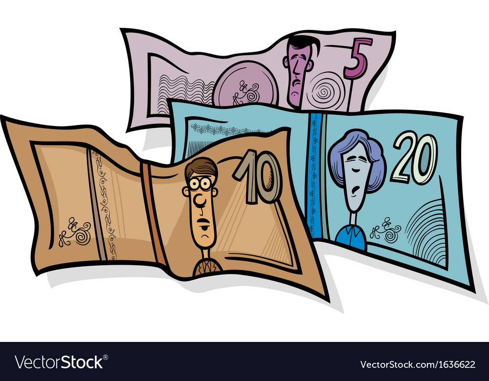 Banknotes currency cartoon vector | Price: 1 Credit (USD $1)