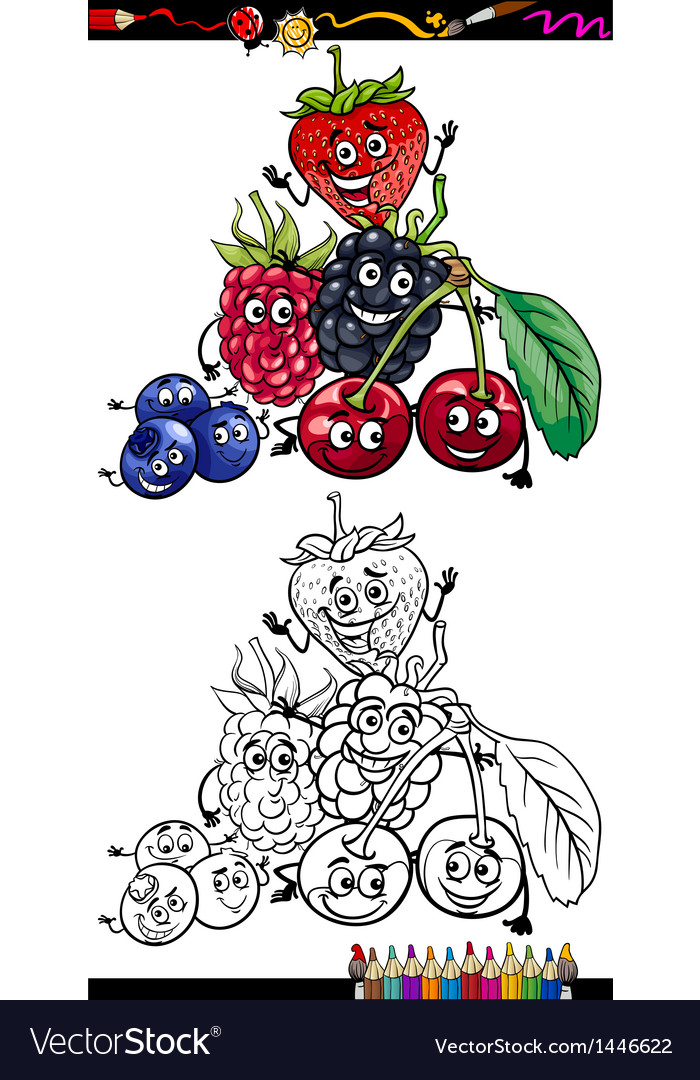 Cartoon berry fruits for coloring book vector