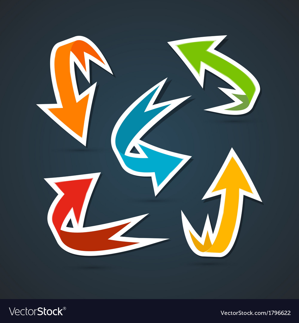 Colorful abstract arrows set vector | Price: 1 Credit (USD $1)