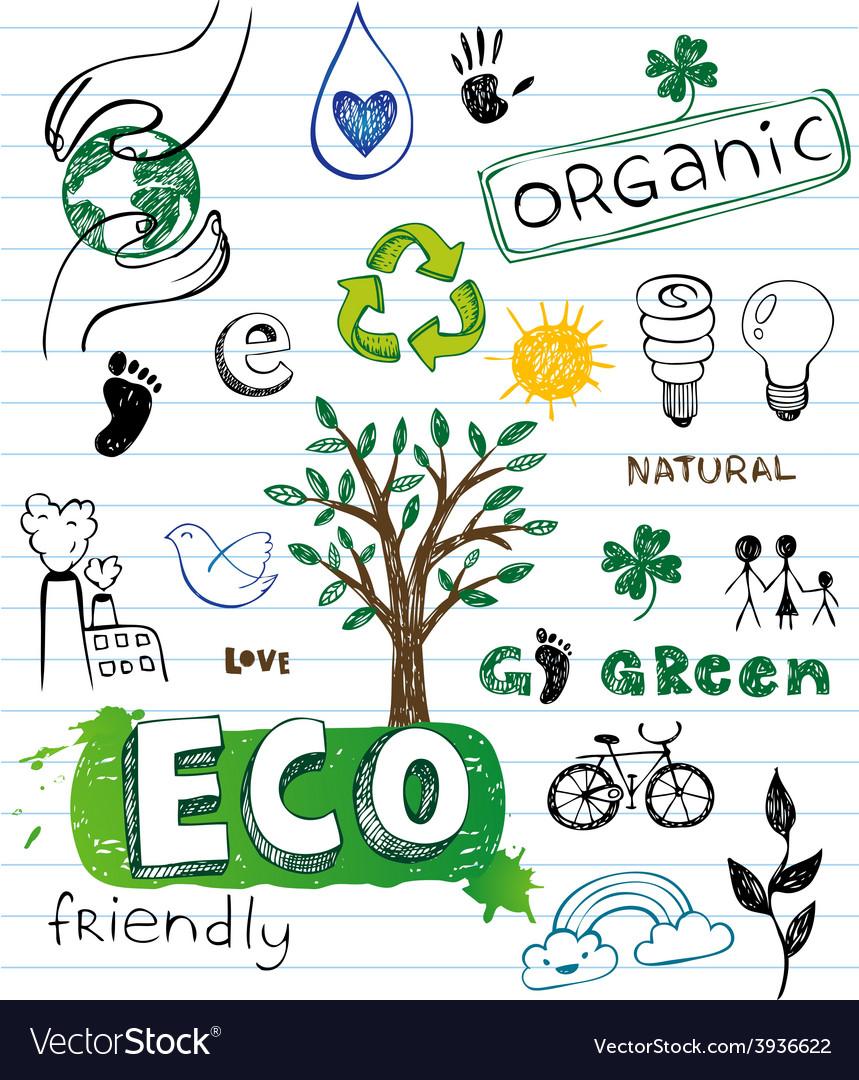 Eco friendly doodles vector | Price: 1 Credit (USD $1)