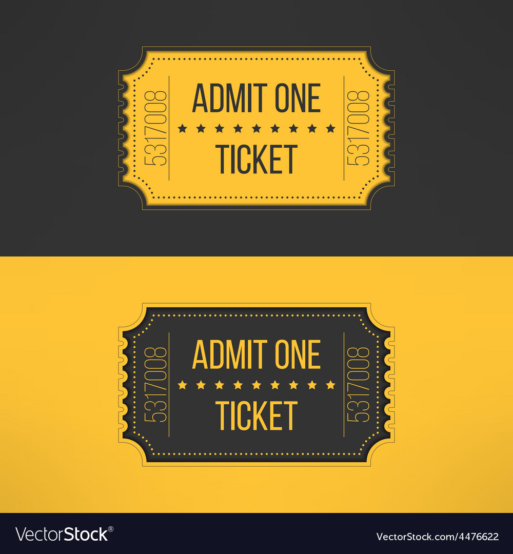 Entry ticket in stylish vintage style admit one vector | Price: 1 Credit (USD $1)