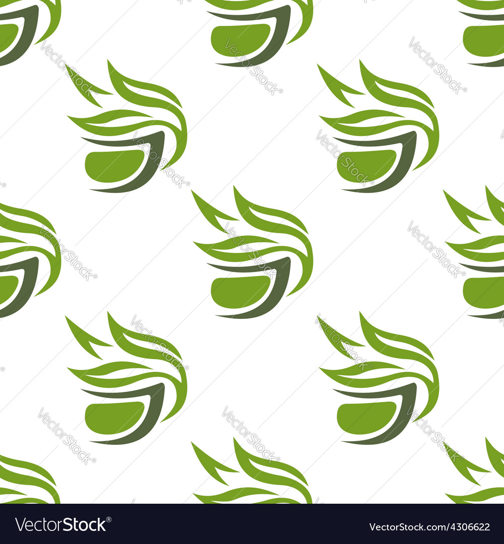 Green or herbal tea cups seamless pattern vector | Price: 1 Credit (USD $1)