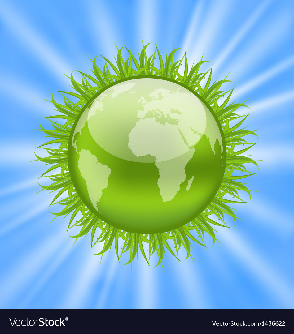 Icon earth with grass environment symbol vector | Price: 1 Credit (USD $1)