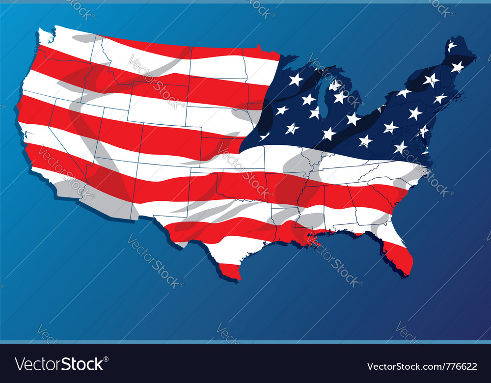 Map of the united states of america states vector | Price: 1 Credit (USD $1)