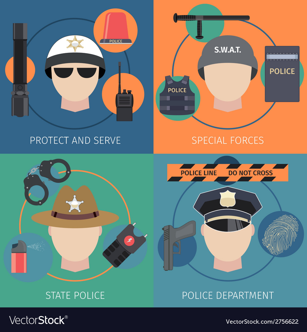 Police flat set vector | Price: 1 Credit (USD $1)