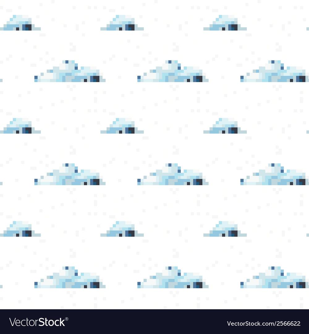 Seamless cloud pattern pixel art vector | Price: 1 Credit (USD $1)