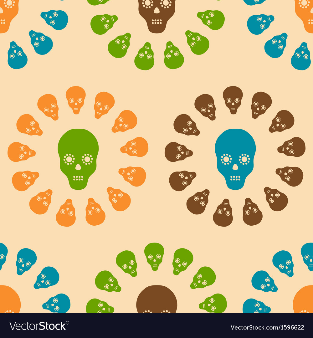 Seamless pattern of skulls vector | Price: 1 Credit (USD $1)