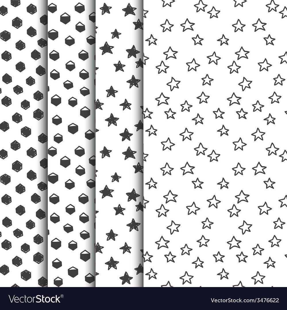 Set of four doodle seamless geometric patterns vector | Price: 1 Credit (USD $1)