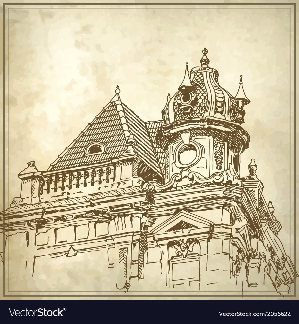 Sketchy drawing of historical building vector | Price: 1 Credit (USD $1)