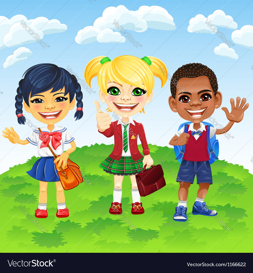 Smiling schoolchildren of different nationalities vector | Price: 3 Credit (USD $3)