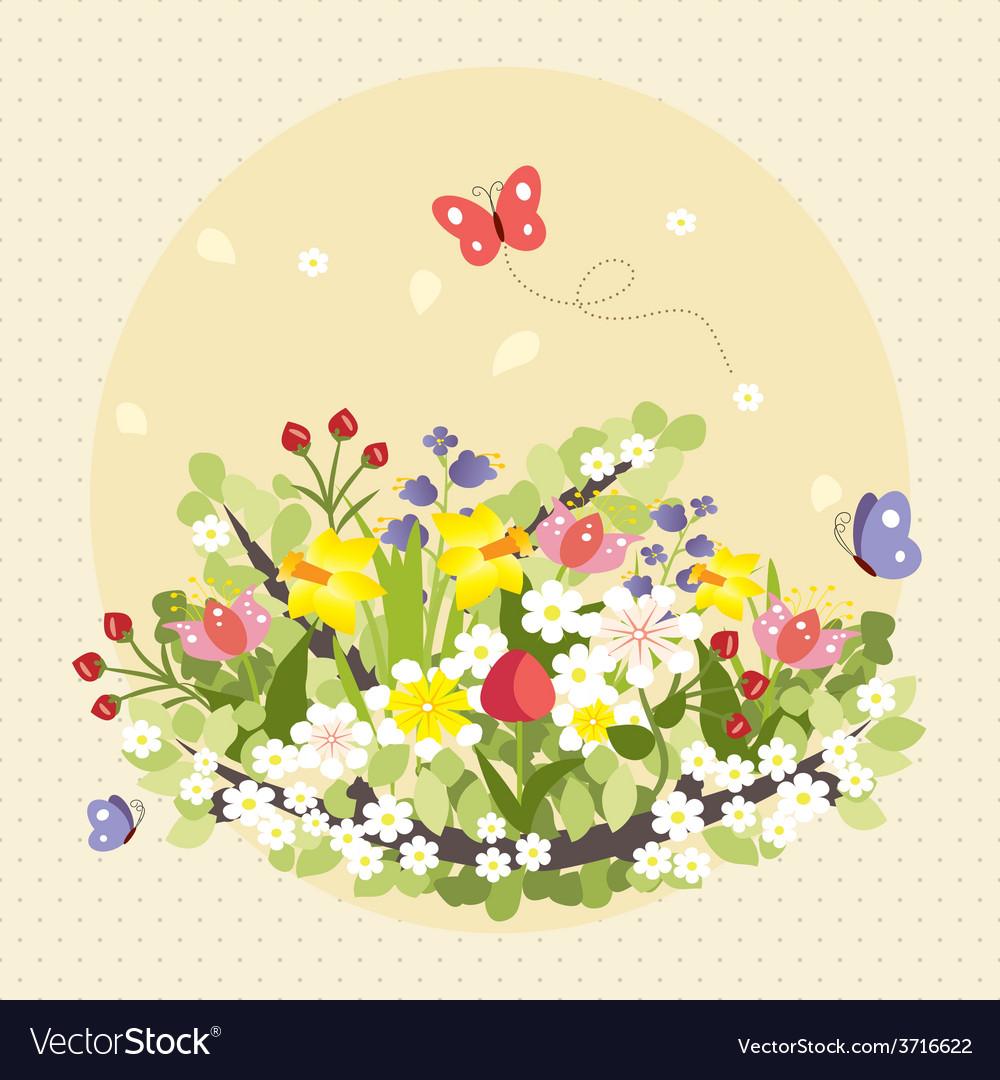 Spring butterflies flowers art colorful vintage vector   Price: 1 Credit (USD $1)