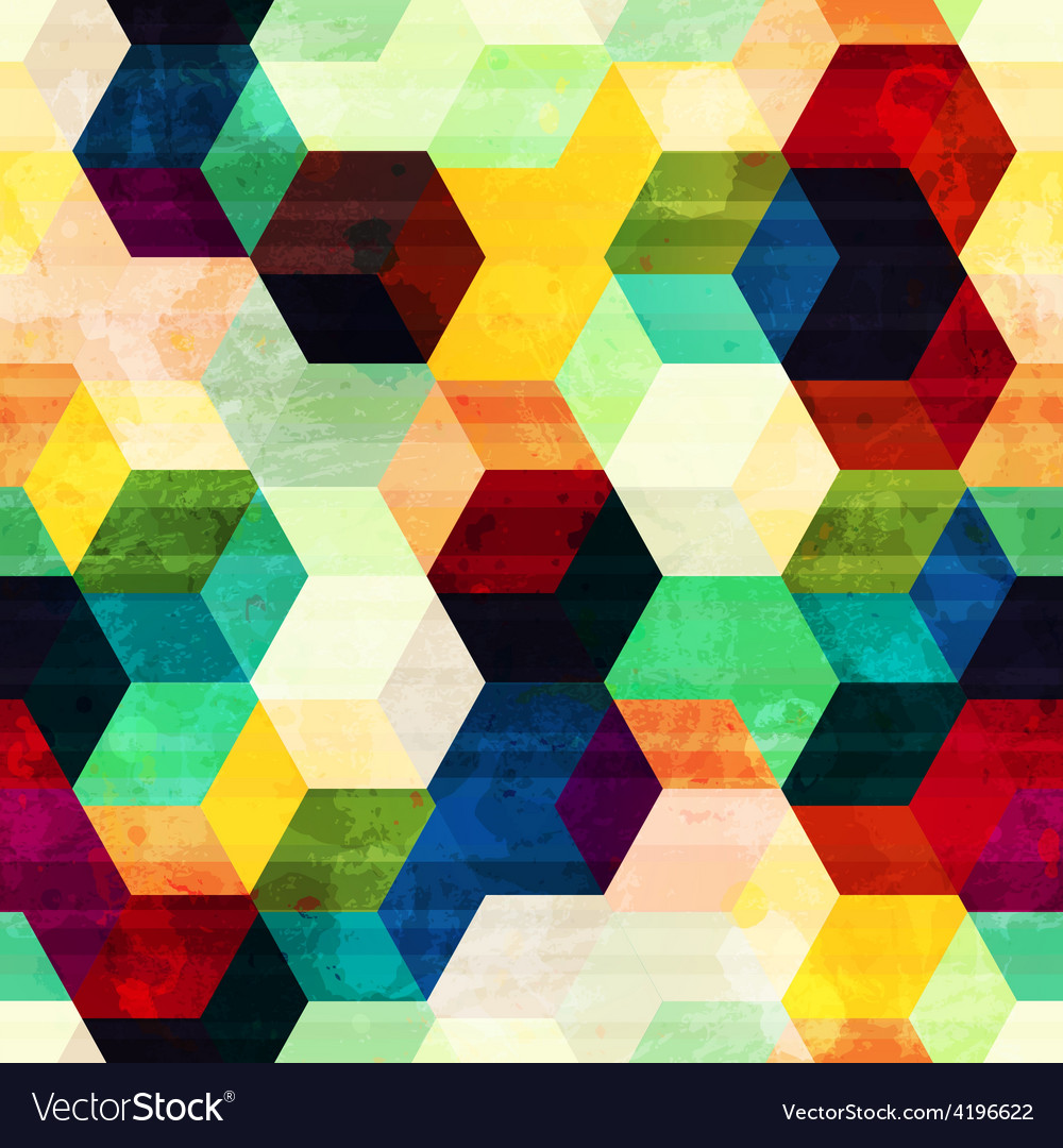 Vintage rhombus seamless pattern with grunge vector | Price: 1 Credit (USD $1)