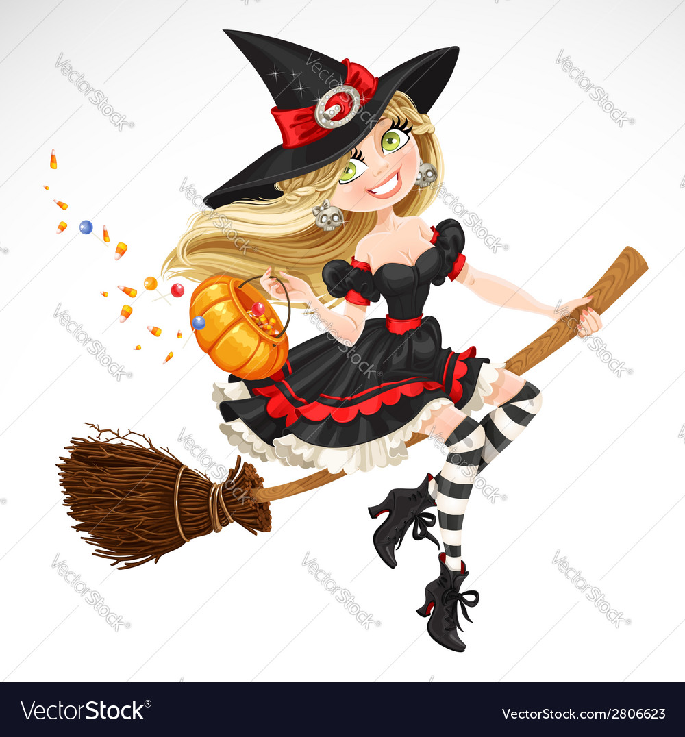 Beautiful witch with candy in pumpkin vector | Price: 3 Credit (USD $3)