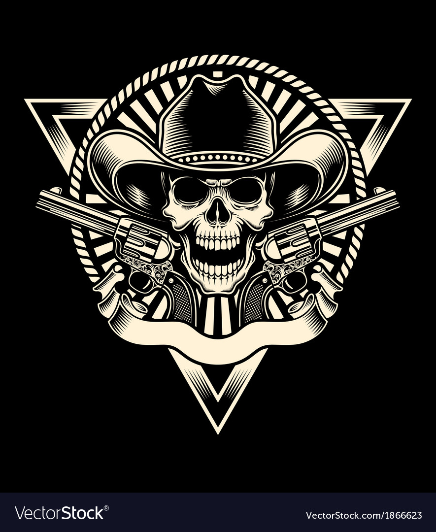 Cowboy skull with revolver vector | Price: 1 Credit (USD $1)