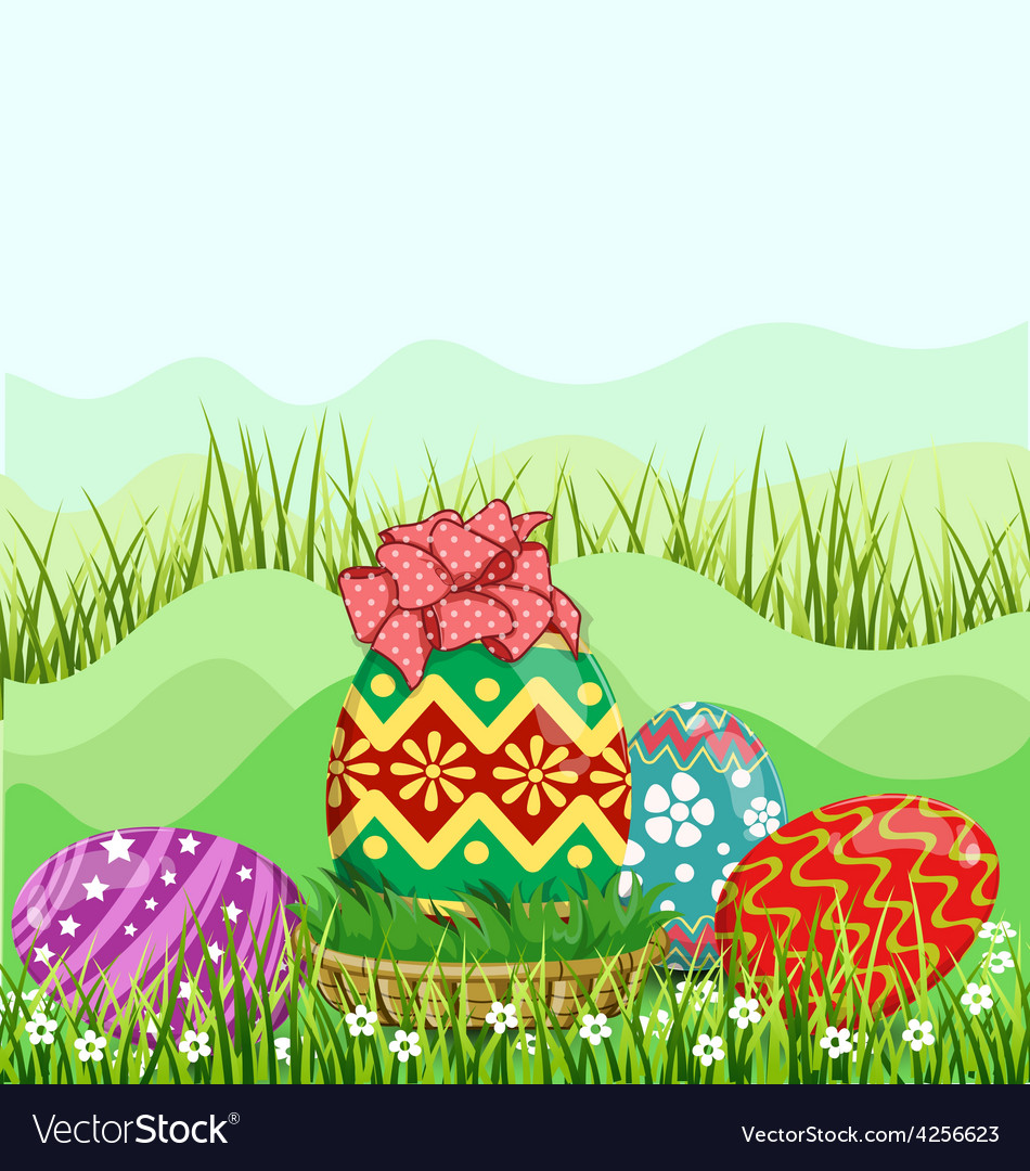 Easter eggs hunt hiding in the grass vector | Price: 3 Credit (USD $3)